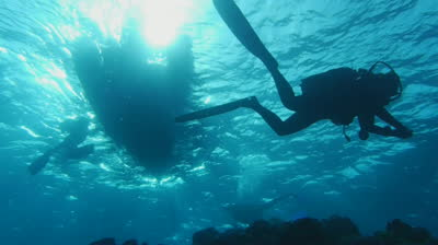 stock-footage-scuba-divers-under-zodiac-back-light-sun-light